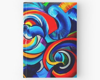 """Abstract Art Hardcover Journal 5""""x7"""",diary,Notepad,Writing Notebook, Book,Psychadelic, Colorful,Graffiti, Cheap Gifts, Cute,Artsy Gift,hippy"""