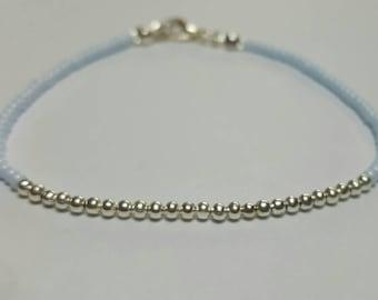 Elegant Pale Blue Beaded Bracelet