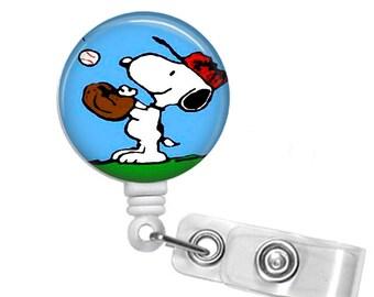 Snoopy Baseball Badge reel, ID Badge holder, retractable badge reel, Summer sports