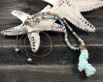 Seafoam Coral Pendant Gold Electroplated Top on Beaded Amazonite and Tan Leather
