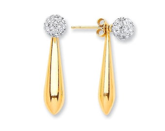 9ct Gold 20mm Teardrop Earrings With Crystal Ball Stud