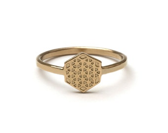 Hexagon Flower of Life Sacred Geometry Ring (small)