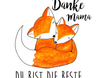 Sweet Fox greeting card / photo card / greeting card / card with 2 foxes - love card / mother-child card -.