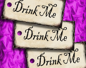 Drink Me Alice in Wonderland Favor Tags Printable Instant Download