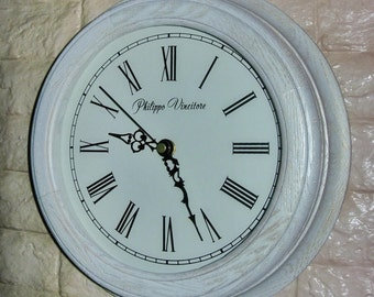 Wall Clock from oak (D=27cm) -white and gold