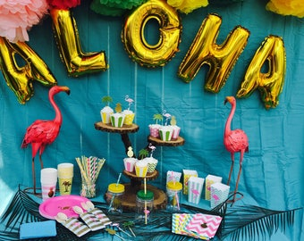 ALOHA tropical island Luau Hawaiian party package bridal baby shower flamingle wedding cups plates pineapple favors banner flamingo complete