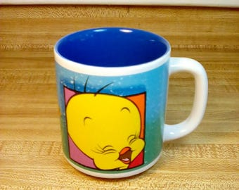 Vintage 1992 Tweety Bird Mug, Six Flags Souvenir Mug, Looney Tunes, Warner Bros, Sylvester and Tweety, Theme Park souvenir