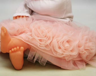Tutu with flower Babyshower gift Girls wedding outfit Special occasion outfits Babys first holiday Flower girl skirt Peach tutu