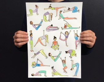 Yoga Women Poses  Illustration / Hand Pulled Screen Print A3 / Individually Water Coloured Limited Edition