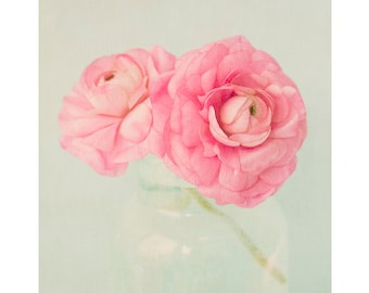Pink Flowers Art Print, Ranunculus  Photograph, Pink Floral Wall Art, Country Chic Decor, Flower Photography,
