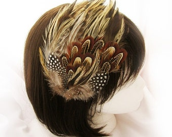 Steampunk Vintage feather fasciantor hat (5 fastener option) badger rooster feather fascinator for steampunk larp,cosplay,wedding,and derby