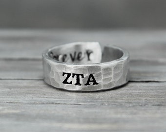 Zeta Tau Alpha Ring, Hammered Sorority Ring, personalized jewelry, hand stamped ring, handstamped jewelry, Sorority Jewelry