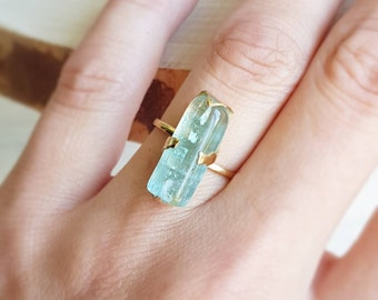 Aquamarine Ring Blue Green Aquamarine Ring Engagement Ring Promise Ring Rough Aquamarine Uncut Aquamarine Anniversary March Birthstone