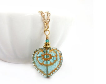 Romantic Heart Pendant - Aquamarine Czech Glass - Victorian Style Necklace - Gift for Her