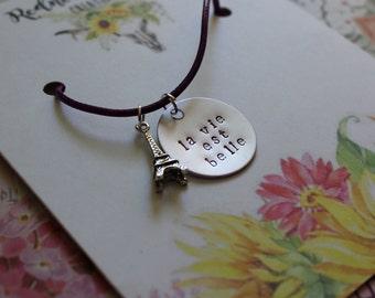 La Vie Est Belle. Life is Beautiful hand stamped necklace