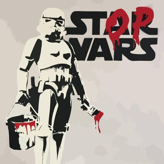 banksy toile star wars stop wars stormtrooper banksy graffiti. Black Bedroom Furniture Sets. Home Design Ideas
