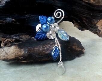 Blue Ear Cuff Climber No Piercing Boho Fantasy Ear Cuff Vine, Womens Teen Gift for Her, bridal ear cuff,  Something Blue Wedding Jewelry