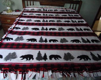 Bear pine trees handmade fleece blanket