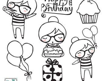 Planner Girl - Birthday Stamp Clipart - Planner Stickers, scrapbook , card design, invitations, paper crafts, web design - INSTANT DOWNLOAD