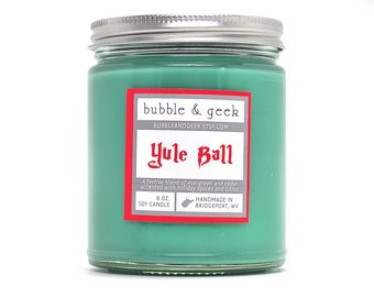 Yule Ball Scented Soy Candle - 8 oz. jar - evergreen, spices, citrus - bookish