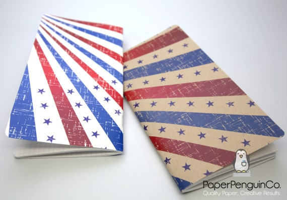 Midori Insert American Flag Patriotic Fourth of July 4th MTN Travelers Notebook Regular Wide A5 B6 Personal A6 Pocket FN Passport