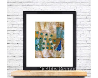 Art Print, Peacock, Peacock Artwork, Bird Art Print, Bird Painting, Unique Bird Art, Wall Art Print, Giclee, 8 x 10, Mixed Media, Collage