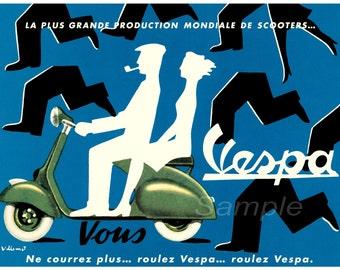Vintage 1954 Vespa Advertising Poster Print