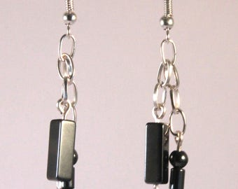 Chain earrings hematite beads
