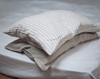 Linen Striped Pillow Case / Natural Linen Sham / Pillow Cover/ Natural Linen / Bedroom Linen / Bedding / Linen Sham Single