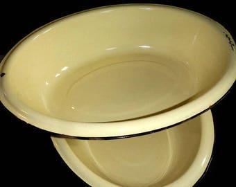 "RARE Vintage Oval Yellow Enamelware Basin or Bowl, CHOICE - hanging hole,black trim, 18"" - enamel,metal,antique,farmhouse decor,cottage chic"