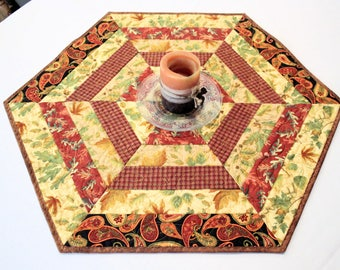 Hexagon Fall Table Runner Quilt or Candle Mat with Fall Leaves in Gold, Rust Brown and Black, Autumn Quilted Table Runner