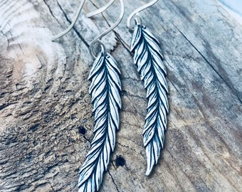 Feather Earrings - Antiqued Silver. Long Dangles Boho Chic Bohemian Hippie Statement Earrings Coachella Silver Jewelry Nature Bird