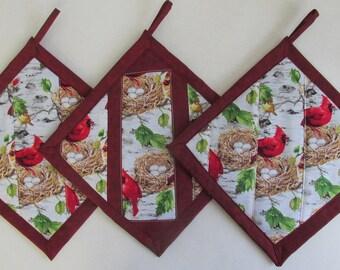 SALE Cardinals on Birch Trees Patchwork Potholders,  Fabric Pot Holders, Cardinal Hot Mats, Patchwork Potholders, Cardinal Kitchen