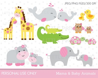 Mama & Baby Animal Clipart Elephant Whale Giraffe Hippo Owl Alligator Turtle INSTANT DOWNLOAD