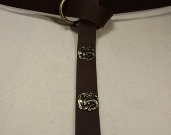 Middle Ages-belt ring-belts chocolate-brown 155 cm 4 dragon-Rivets 100% full-cowhide leather LARP role Play