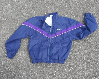 Vintage REEBOK Windbreaker Jacket sz small 90s Hexalite Iverson Shaq Blue/  purple
