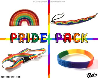 Pride Pack - Rainbow flag accessories! LGBT enamel pin lanyard wristband queer lesbian gay bisexual pansexual transgender bi LGBTQ gender