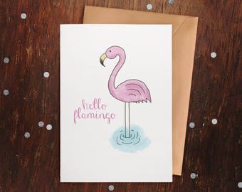 Hello Flamingo - Hand Illustrated Card