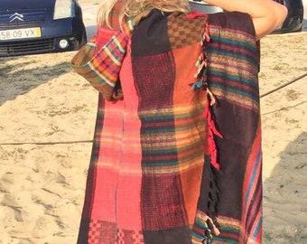Woman hooded poncho
