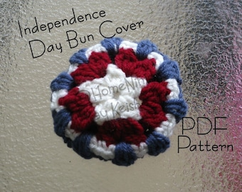 Captain America Hair Bun Cover, Patriotic, ID4 - Pattern Only