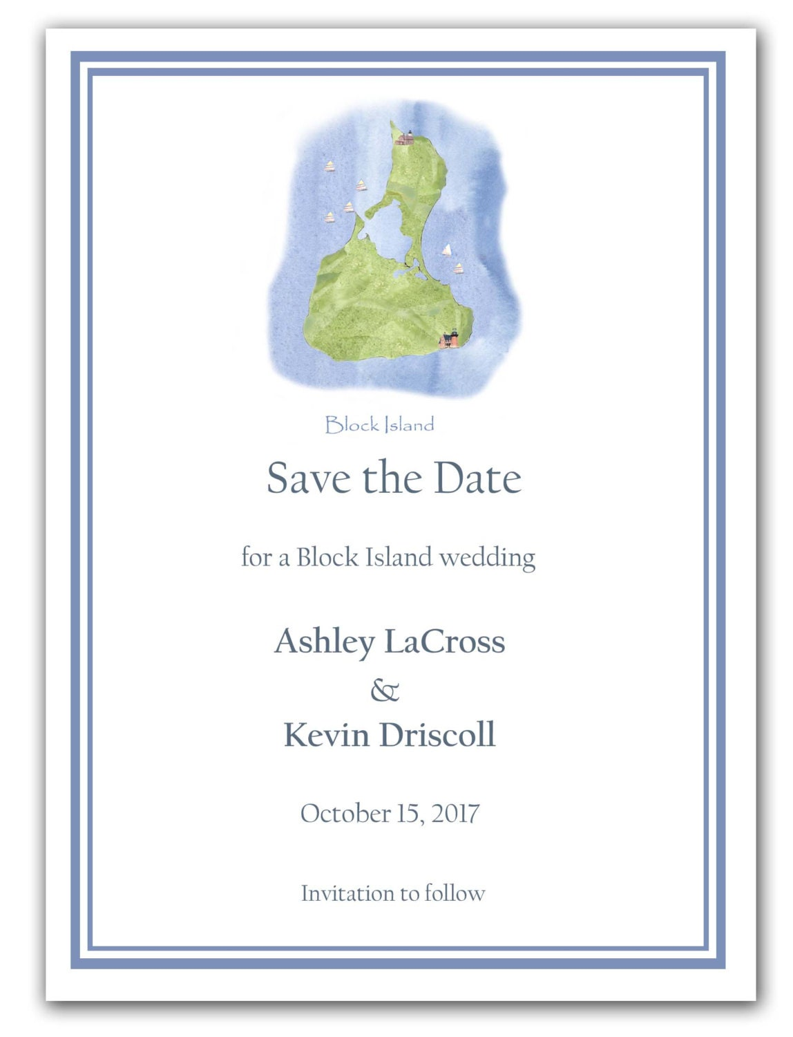 Block Island wedding invitations rehearsal dinner