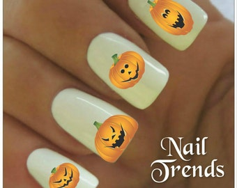 Halloween Nail Decal 20  Vinyl Adhesive Decals Pumpkin Nail Tattoos  Nail Art