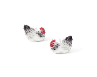 Chicken earrings, bird jewelry, chick studs
