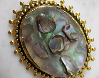 Vintage Brooch Abalone Jewellery Pin Blue Pink Irridescent Gold Cabachon 1960s Shell