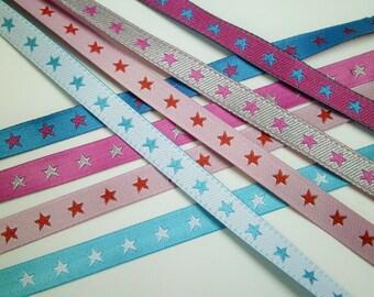 1 m Woven Ribbon ' Star' 7 mm w. reversible