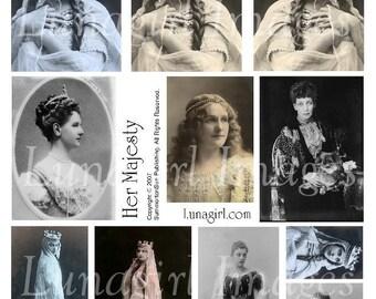 VINTAGE QUEEN digital collage sheet, Victorian women Medieval princess Gothic ladies photos crowns, royal regal divas, art ephemera DOWNLOAD
