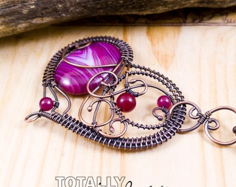 Statement necklace, heart necklace, trendy necklace, onyx agate necklace, copper wire wrapped necklace, purple and hot pink necklace