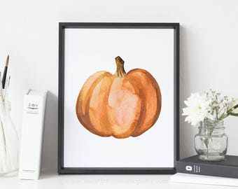 Burnt Orange Pumpkin Printable Wall Art Thanksgiving Decor Fall Decor Rustic Pumpkin Printable Watercolor Pumpkin Print Fall Print Pumpkin