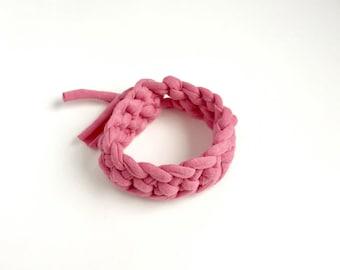 Light Pink T-shirt yarn bracelet - pink crochet bracelet - Gift for her - stocking filler - Pink bracelet - Pink jewellery