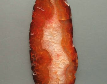 As Pictured- Giant Brown Orange agate Slice Pendant 46x107mm- #1025053